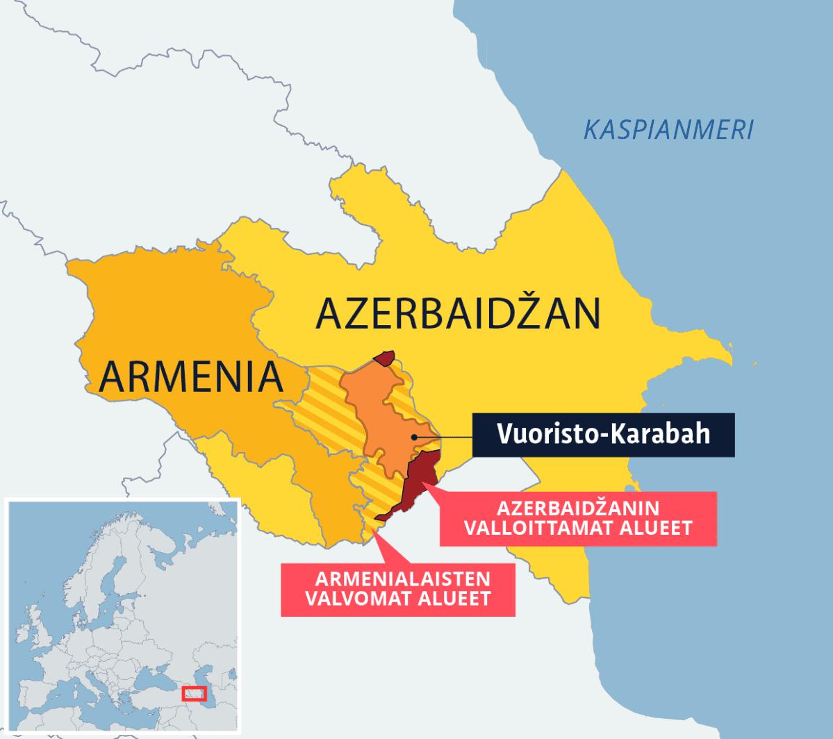 Kartta Vuoristo-Karabahin alueesta.