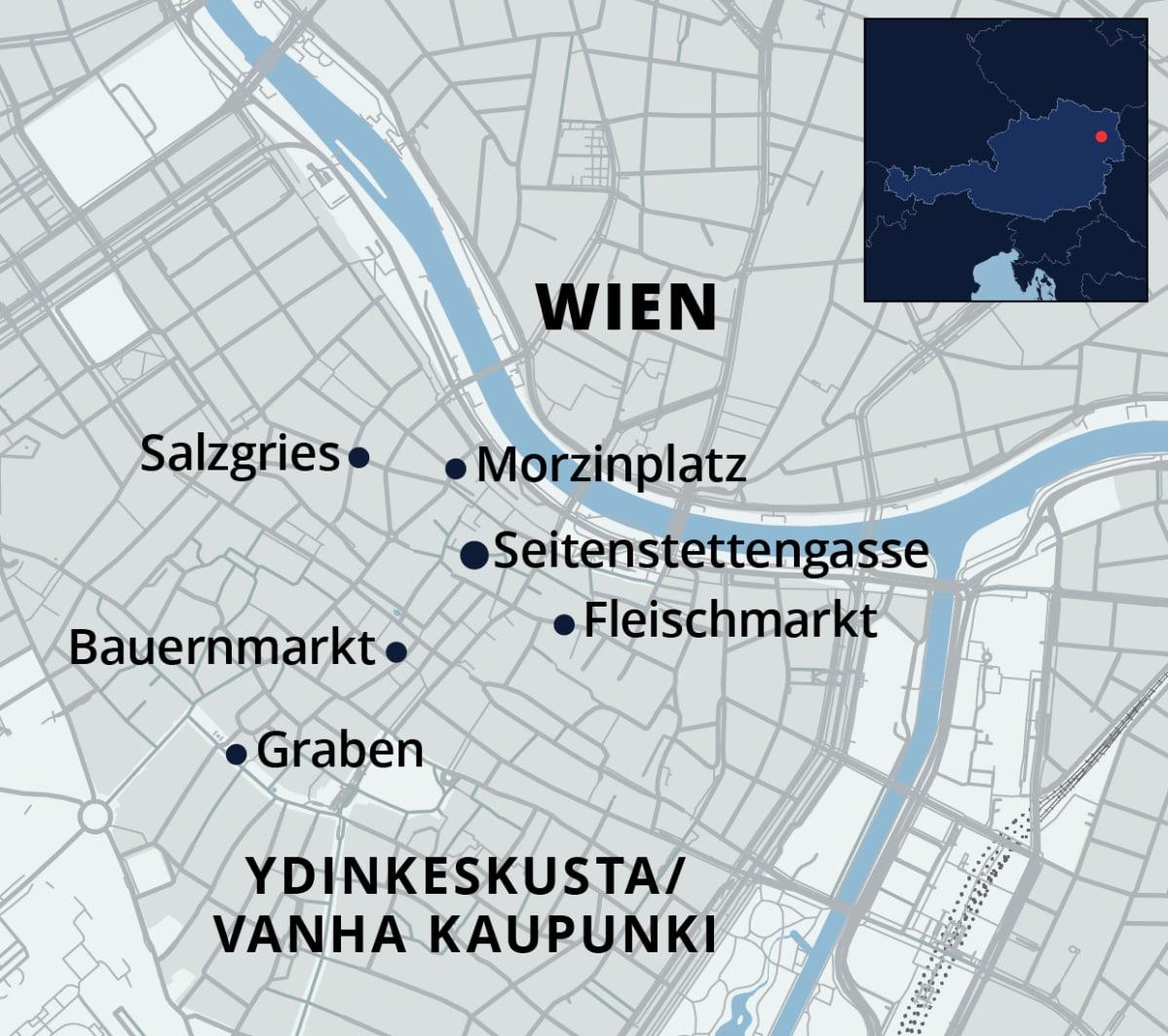 Wienin ammuskelupaikat kartalla.