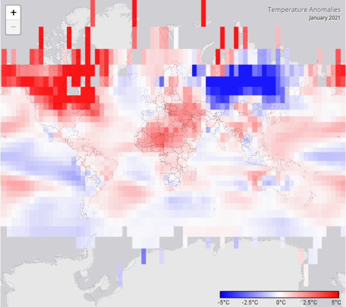 kuvakaappaus NOAA:n sivulla olevasta maapallon lämpötiloja esitävästä graafista