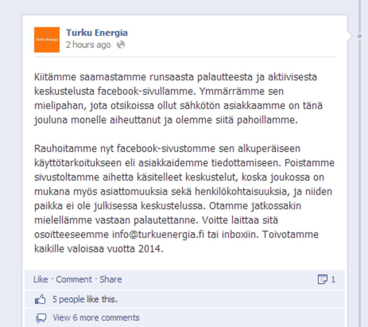 Kuvakaappaus Turku Energian Facebook-sivulta
