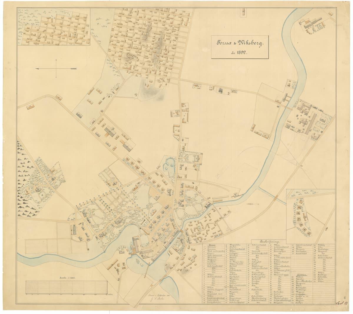 Kartta Forssasta 1890-luvulla.