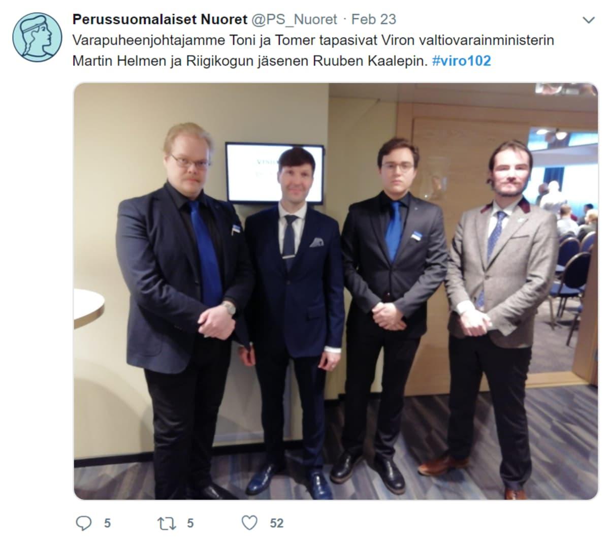 Perussuomalaisten nuorten tviitti 23.2.2020
