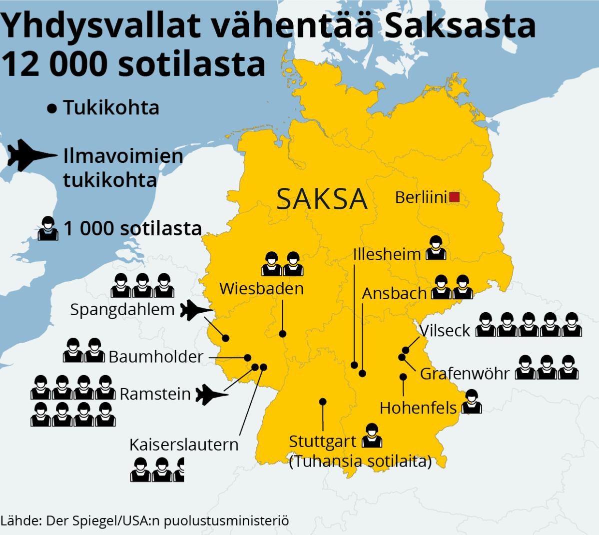 Infokartta Amerikkalaissotilaiden määrästä Saksassa.