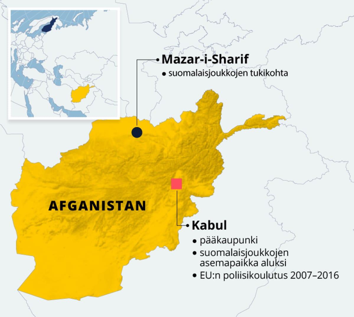 Afganistanin kartta johon on merkitty myös Mazar-i-Sharifin ja pääkaupunki Kabulin sijainti.
