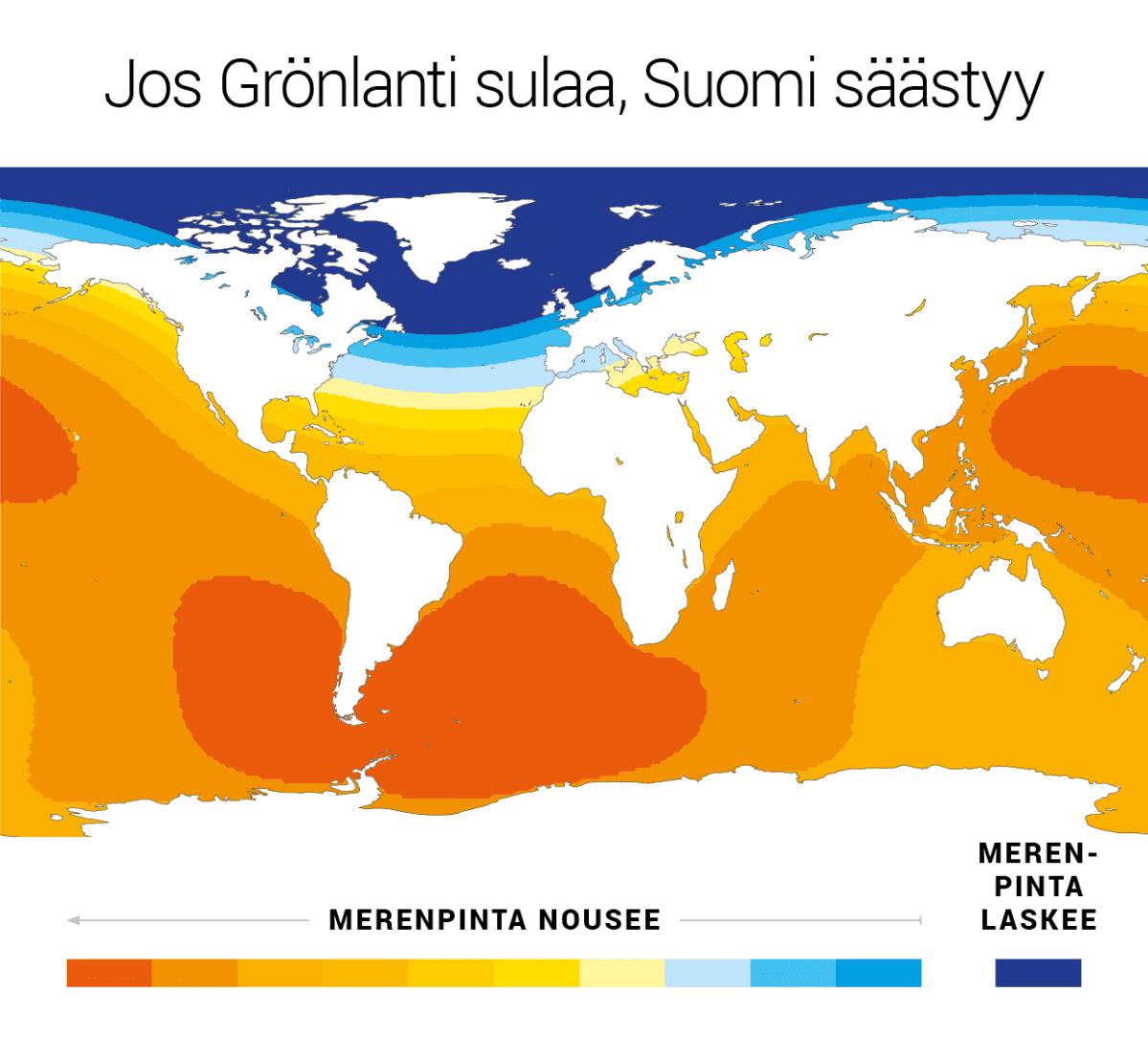 Jos Grönlanti sulaa, Suomi säästyy.