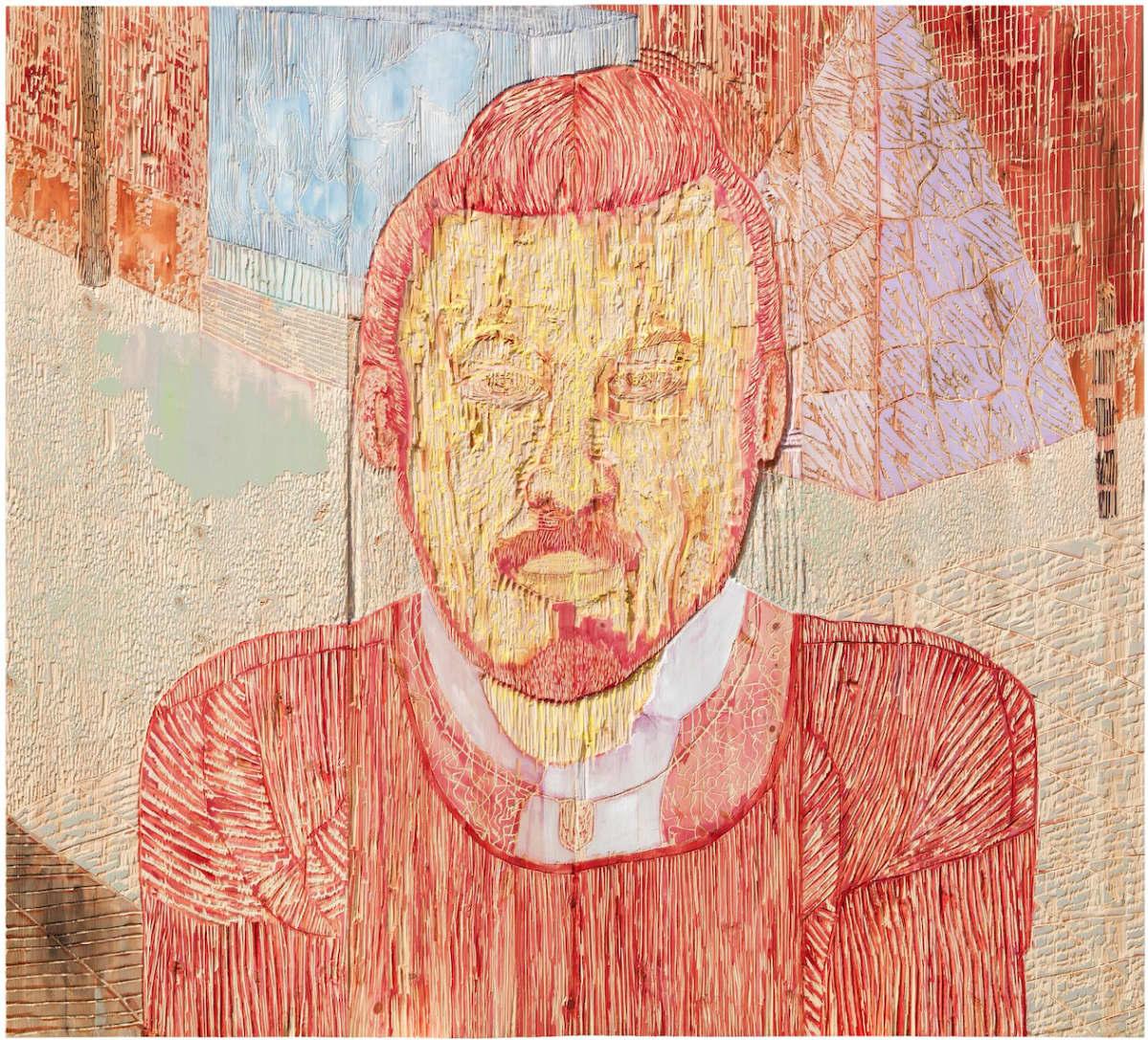 Mies risteyksessä, maalaus- ja kaiverrus mäntylevylle. 185 x 210 cm, 2013.