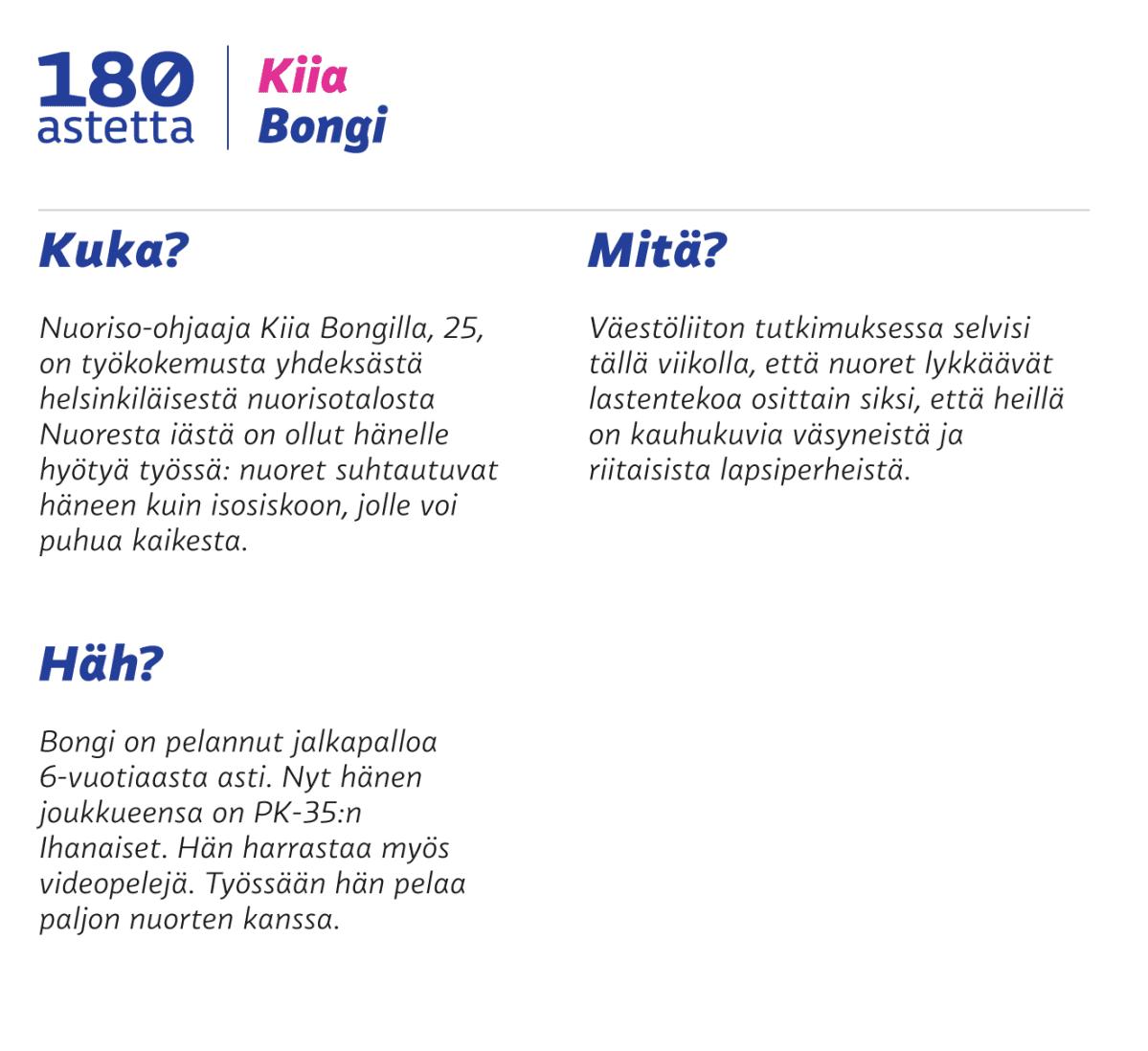 180 astetta: Kiia Bongi