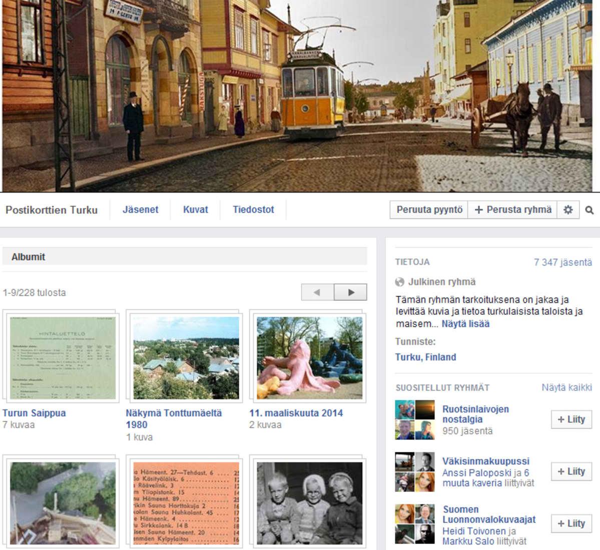 Kuvakaappaus Postikorttien Turku -sivustosta Facebookissa.