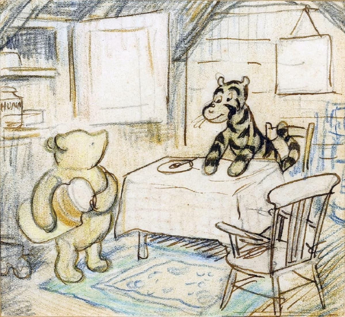 Piirros päydän ääressä istuvasta Tikrusta ja Puhista, joka pitelee kainalossa isoa purkkia.