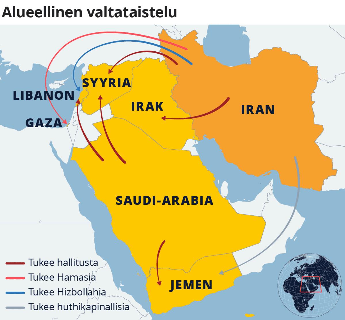 Kartta alueellisesta valtataistelusta Iranin, Saudi-Arabian, Jemenin, Irakin, Syyrian, Libanonin ja Gazan alueella.
