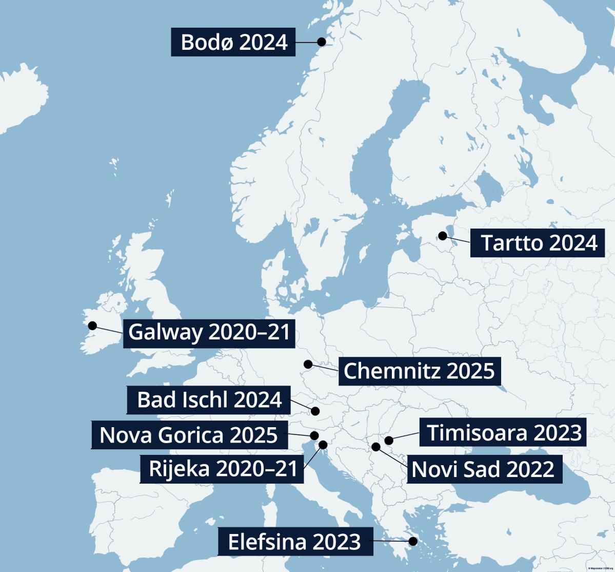 Tulevat Euroopan kulttuuripääkaupungit -kartta.
