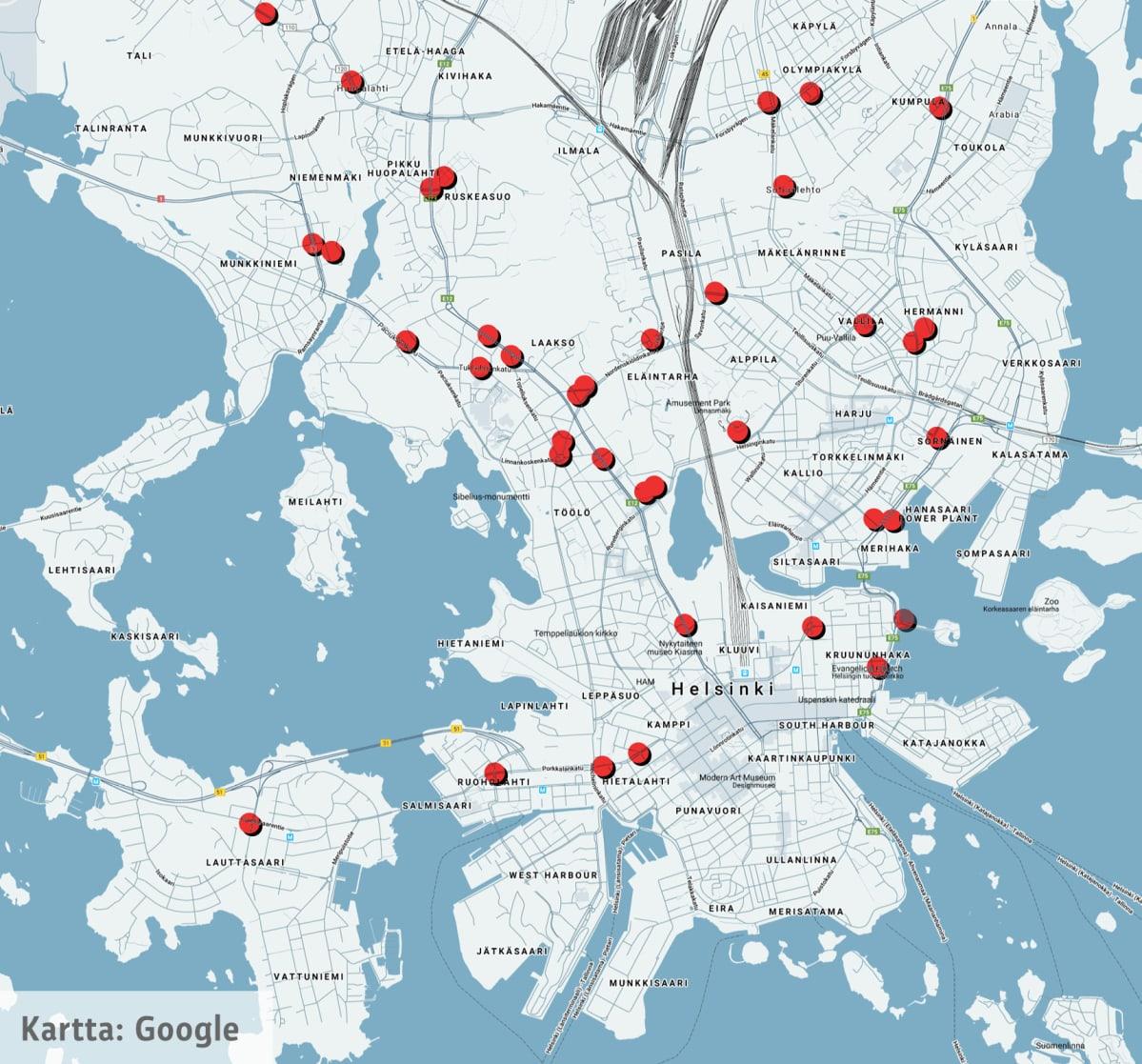 Uudet kamerapaikat Helsingin kartalla