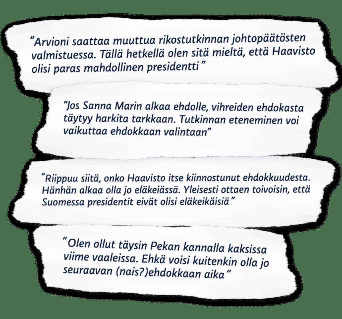 Vihreiden kritiikkiä Pekka Haaviston mahdollista presidenttiehdokkuutta kohtaan.