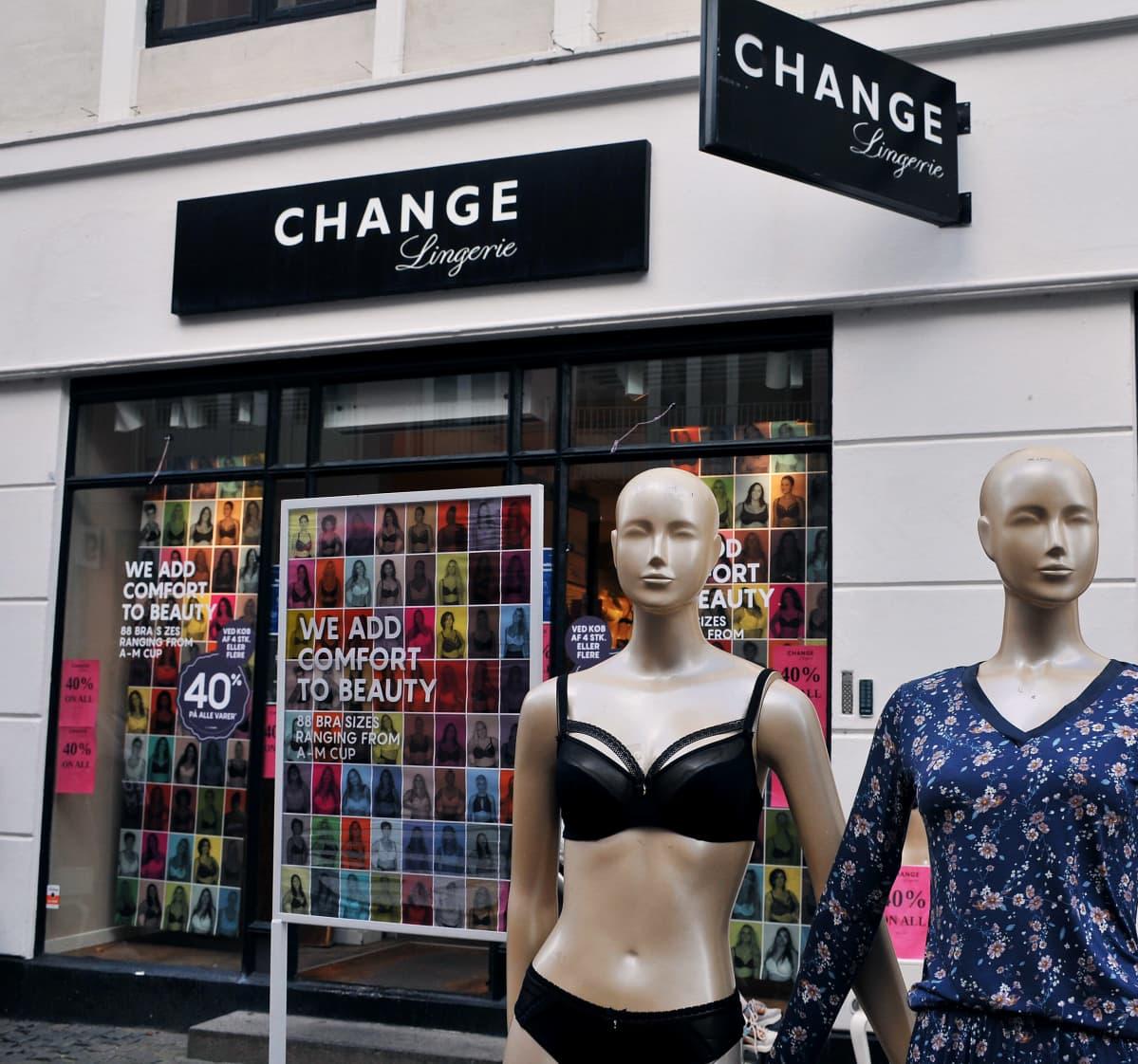 Change Lingerien myymälä Tanskassa.