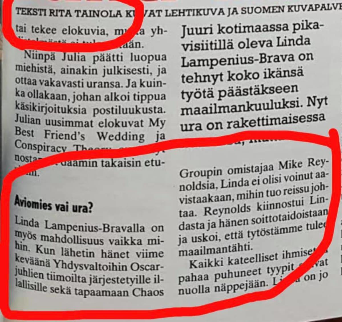 Kuva Seura-lehden artikkelista Linda Lampeniuksen Facebook-sivuilta.