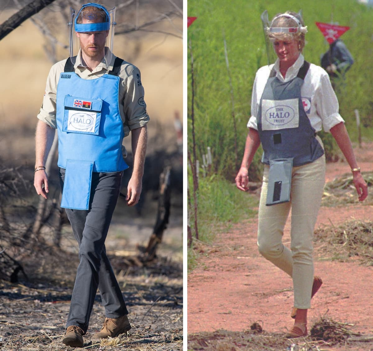 Prinssi Harry ja prinsessa Diana suojavarusteissa miinakentällä.