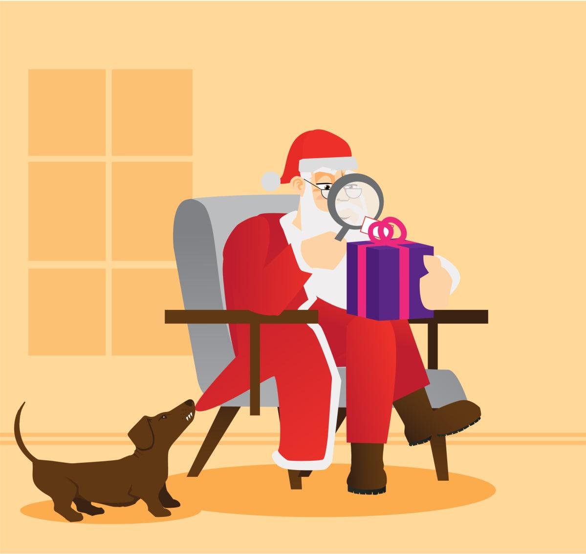Joulupukki ja lahjapaketti