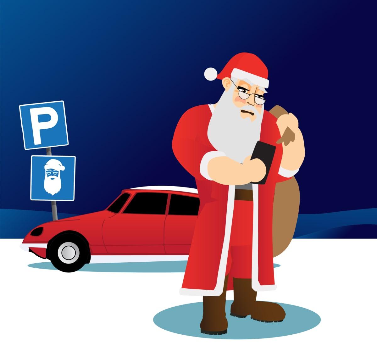 Joulupukki parkkipaikalla