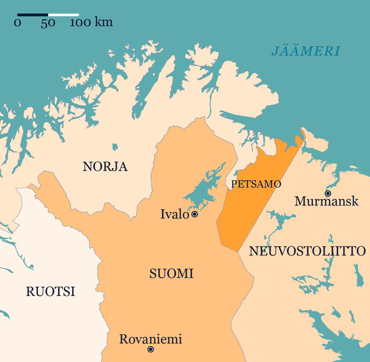 Kartalla vuosina 1920-1944 Suomeen kuulunut Petsamon alue.