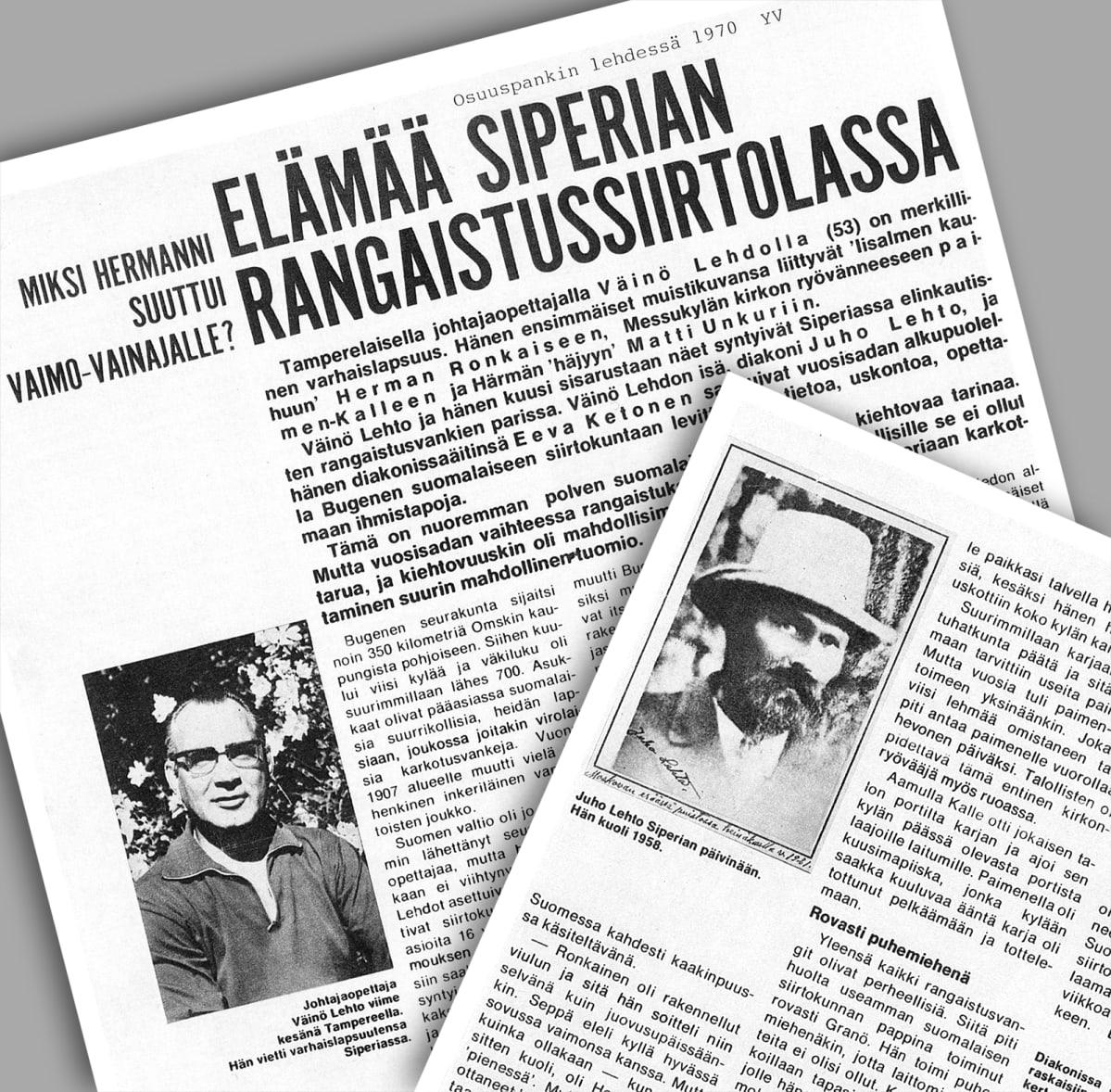 Osuuspankkilehden juttu elämästä Siperiassa.