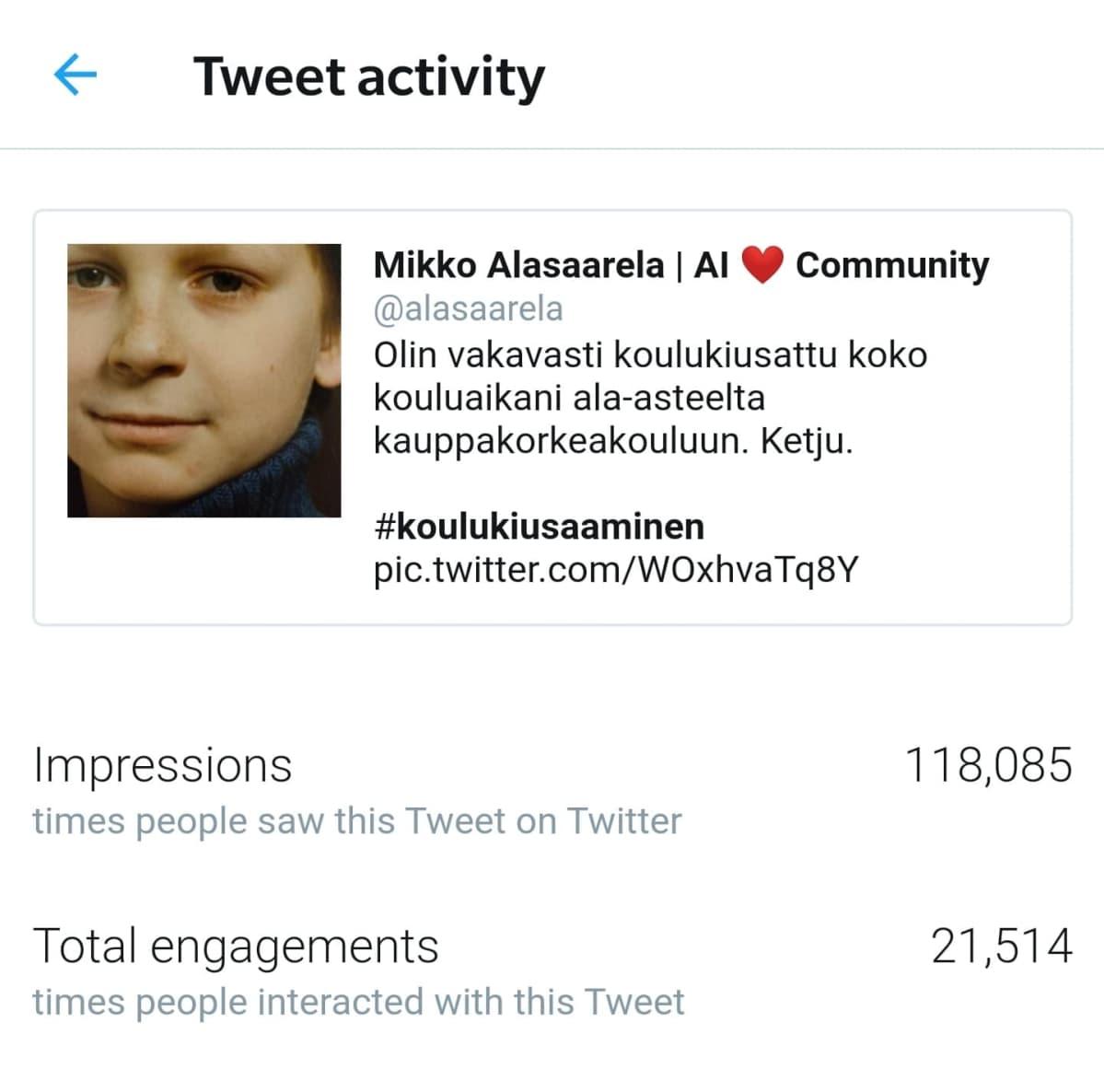 Mikko Alasaarelan twiitti kiusaamisesta on suurin suomenkielinen päivitys  Twitterissä