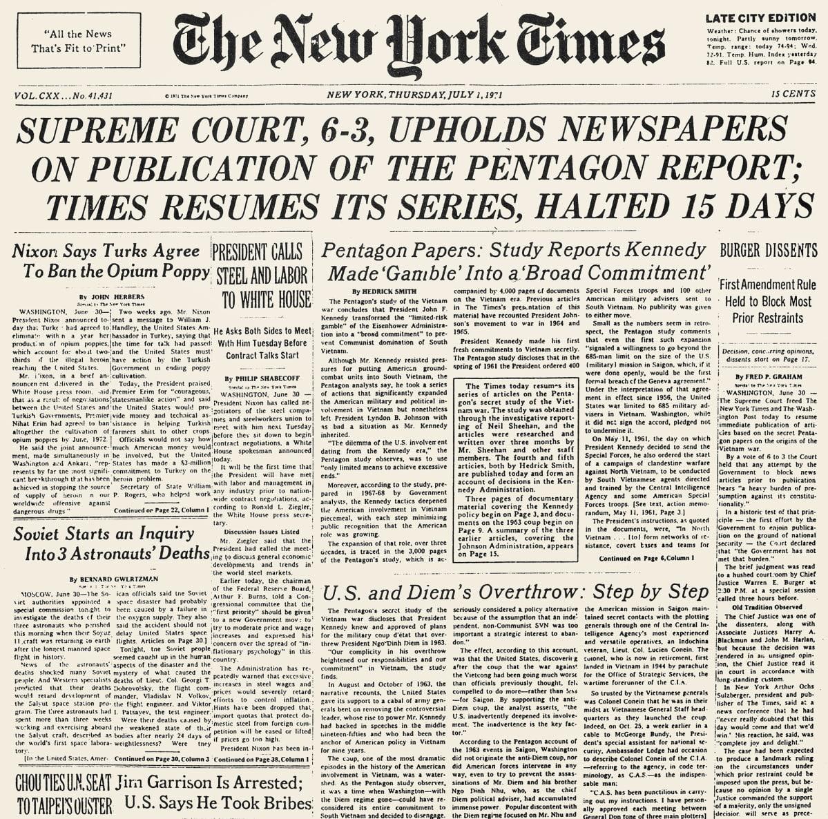 New York Times etusivu 1.7.1971.