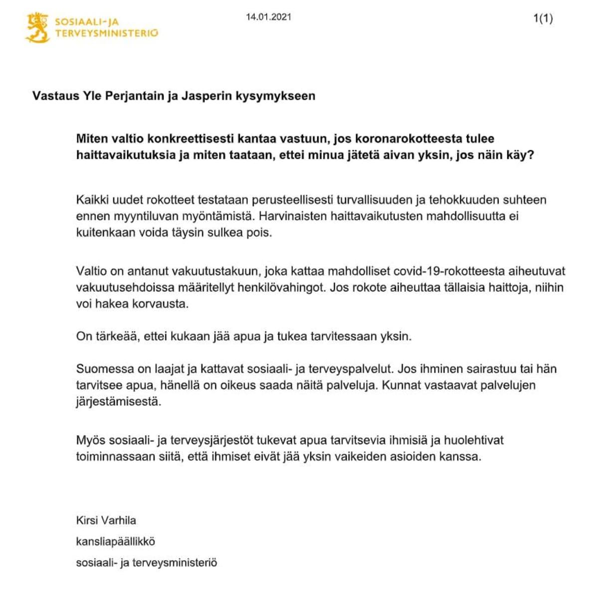 Sosiaali- ja terveysministeriön kansliapäällikkö Kirsi Varhilan vastaus Jasper Mäki-Jokelalle