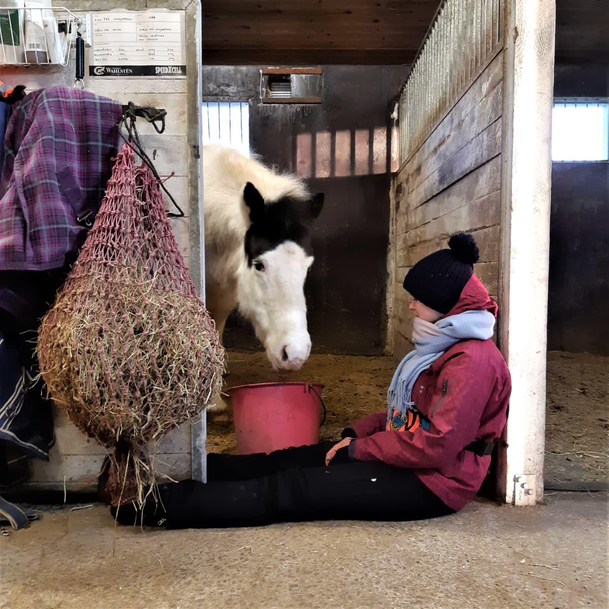 Mila Tanttu istuu tallin lattialla hevosen karsinan oven suussa.