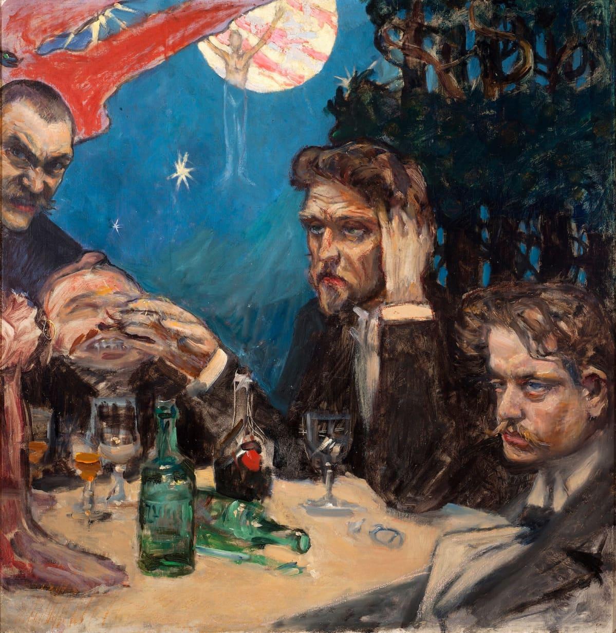 Akseli Gallénin Symposion-taulun ensimmäinen versio Kajustaflan 1890-luvun alusta.