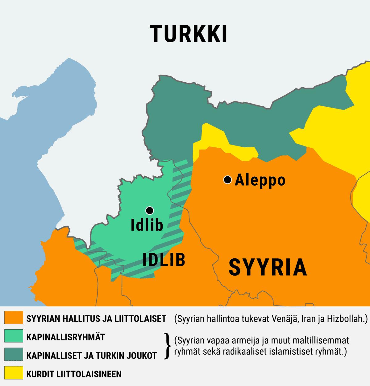 Kartta Syyriaa hallitsevien eri joukkojen sijainnista Luoteis-Syyriassa.
