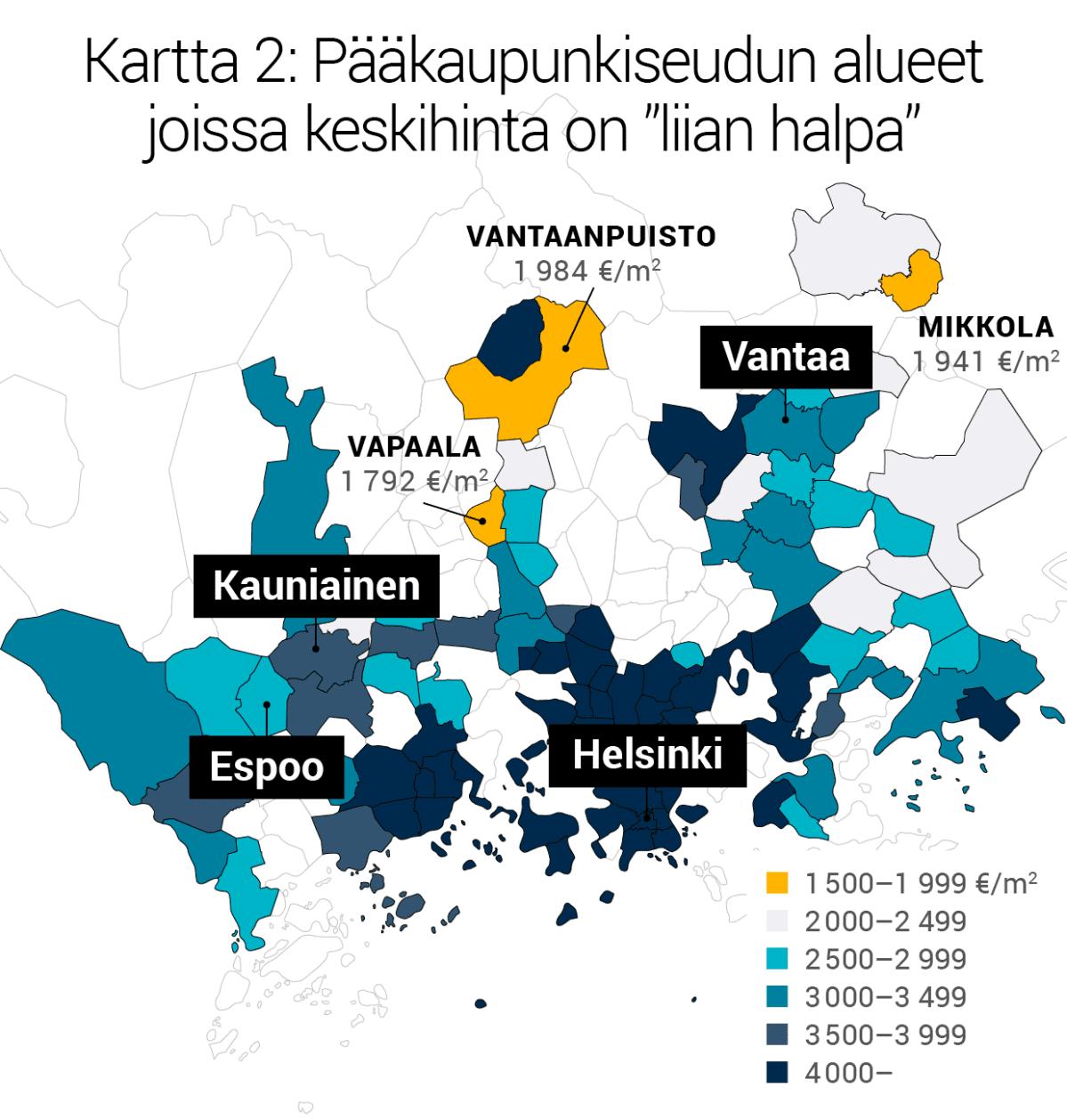 """Kartta 2: Pääkaupunkiseudun alueet joissa keskihinta on """"liian halpa""""."""