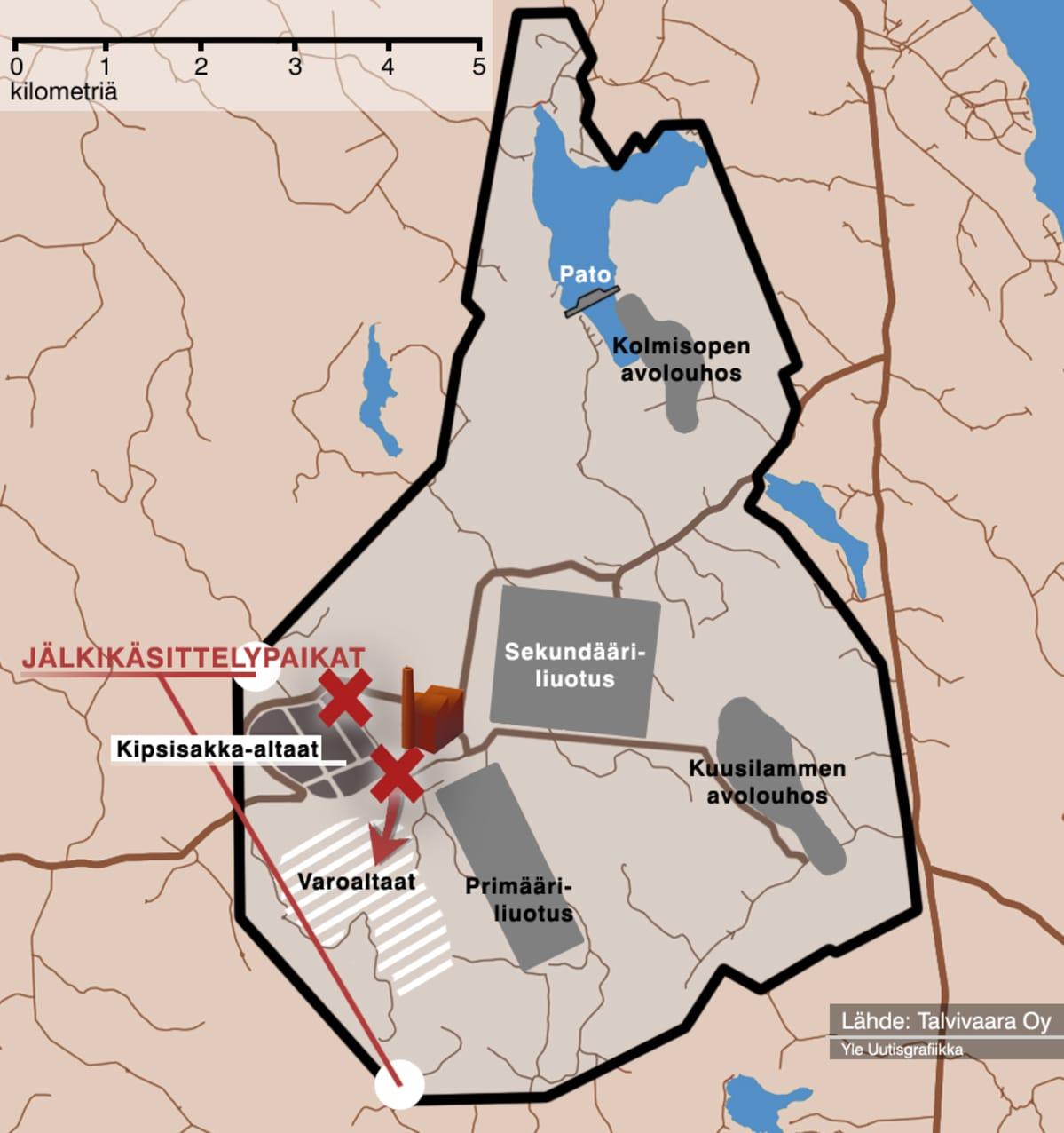 Kaksiulotteinen kartta Talvivaaran kaivosalueesta.