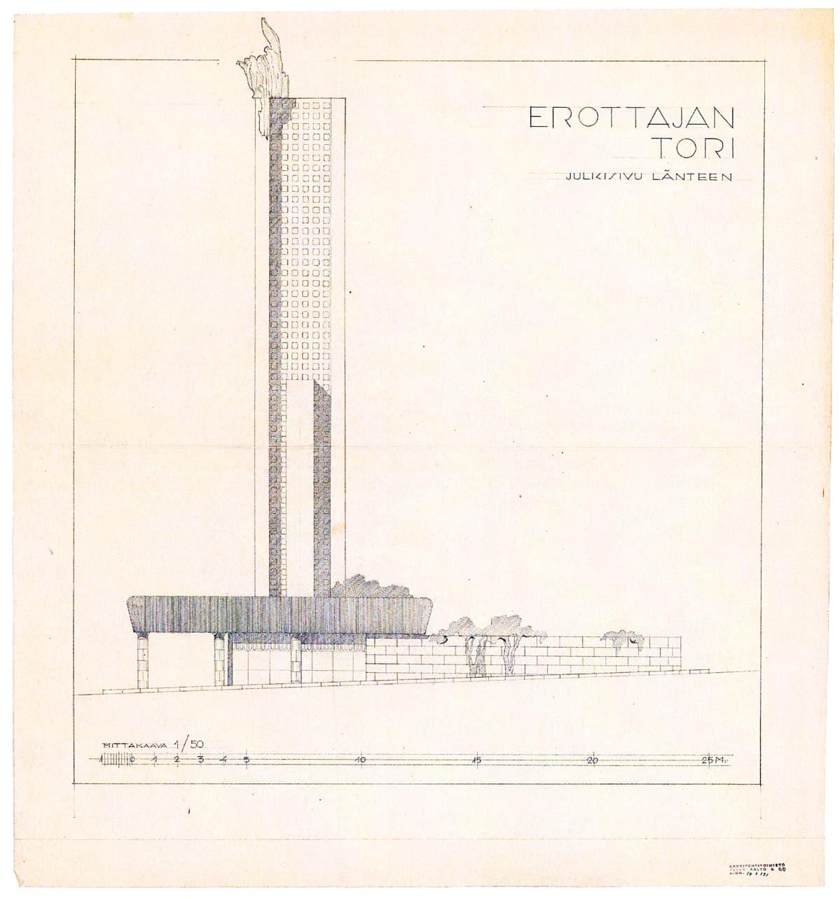 Rakennuspiirros korkeasta tornista.