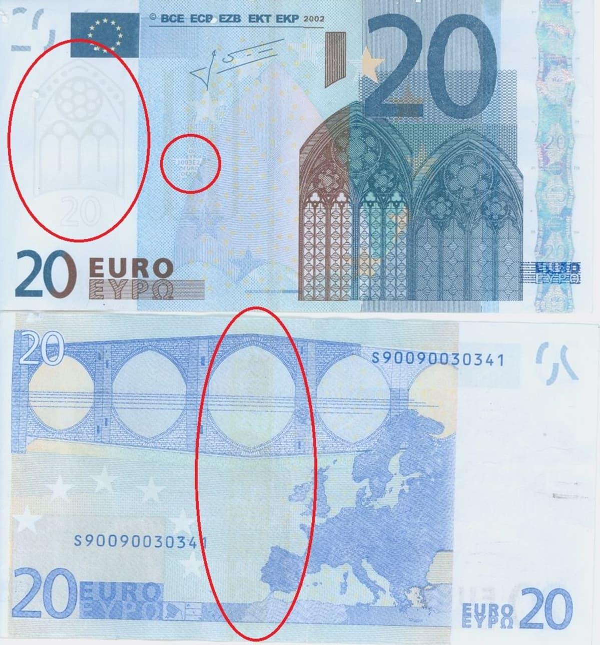 Väärennetty 20 euron seteli.