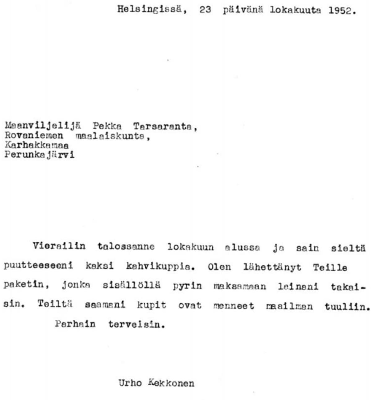 Urho Kekkosen kirje