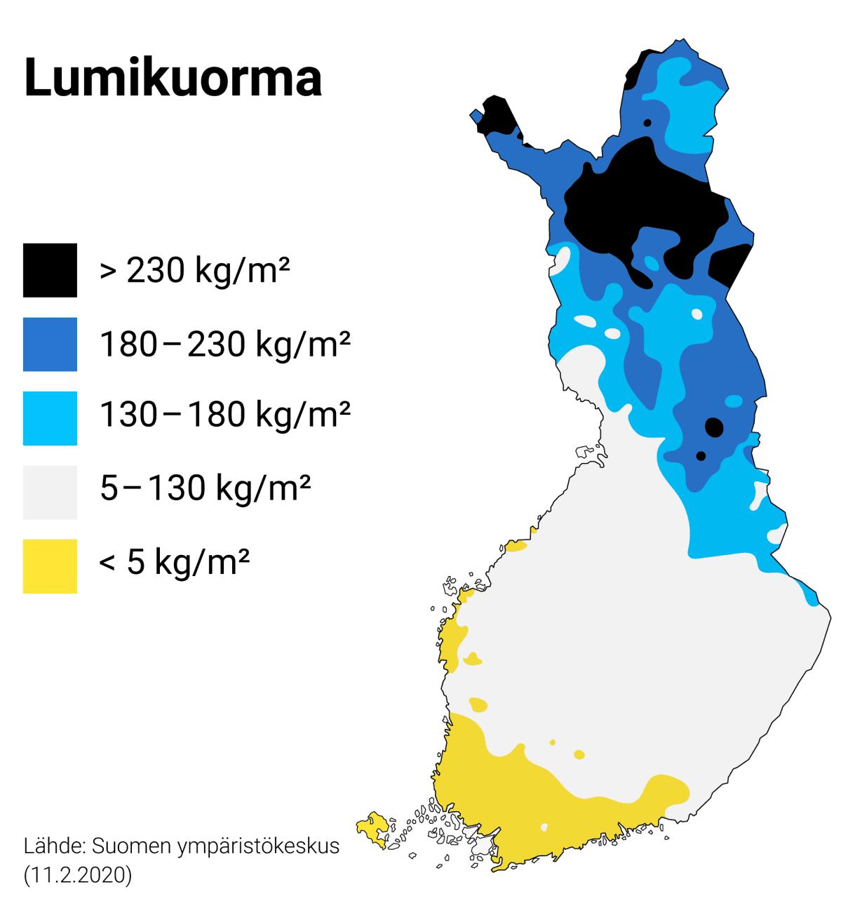 Grafiikka kuvaa lumikuorman määrää Suomessa. Vain pohjoisessa on runsaasti lumikuormaa. Keski-Suomessa lumikuorma on 5–130 kg/m². Etelä-Suomessa lumikuorma jää alle 5 kg/m². Grafiikan lähde: Suomen ympäristökeskus, 11.2.2020.