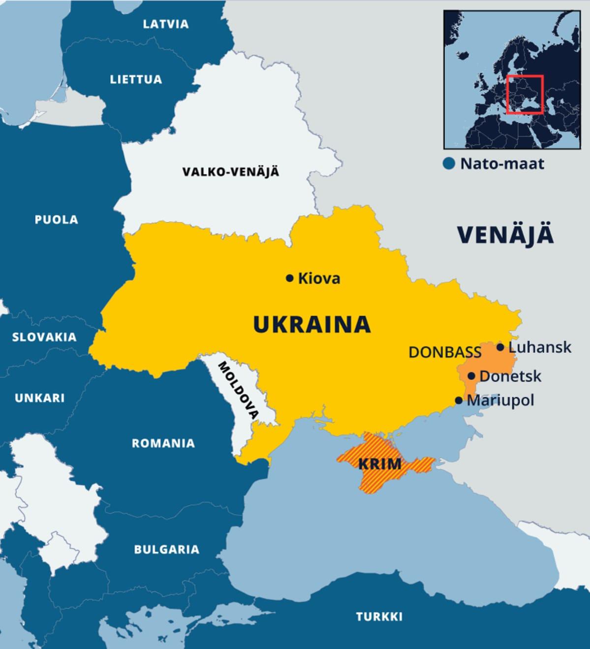 Ukrainan ja sitä ympäröivien Nato-maiden kartta.