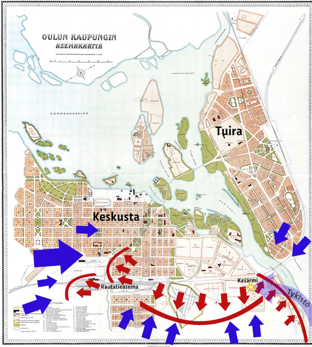Oulun taisteluiden rintamat oulun valtauksen aikana 3. helmikuut 1918.