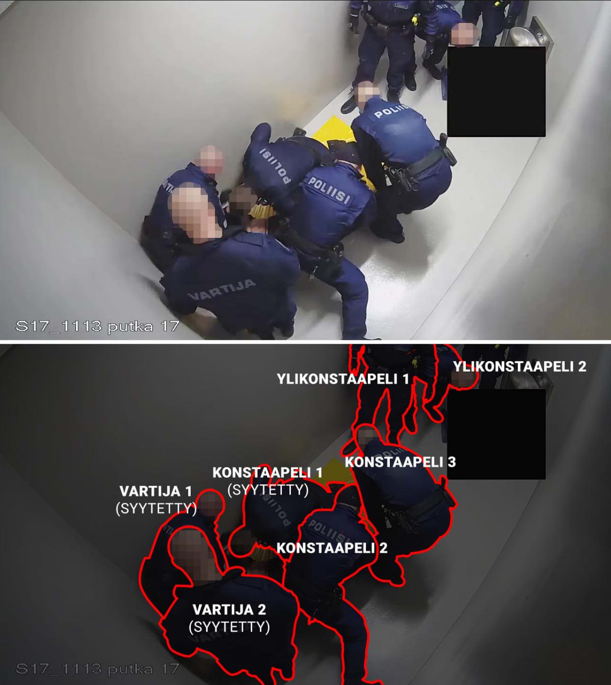 Valvontakameran kuva poliisin putkasta.