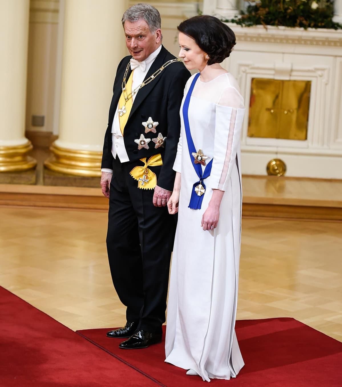Tasavallan presidentti Sauli Niinistö ja puoliso Jenni Haukio.