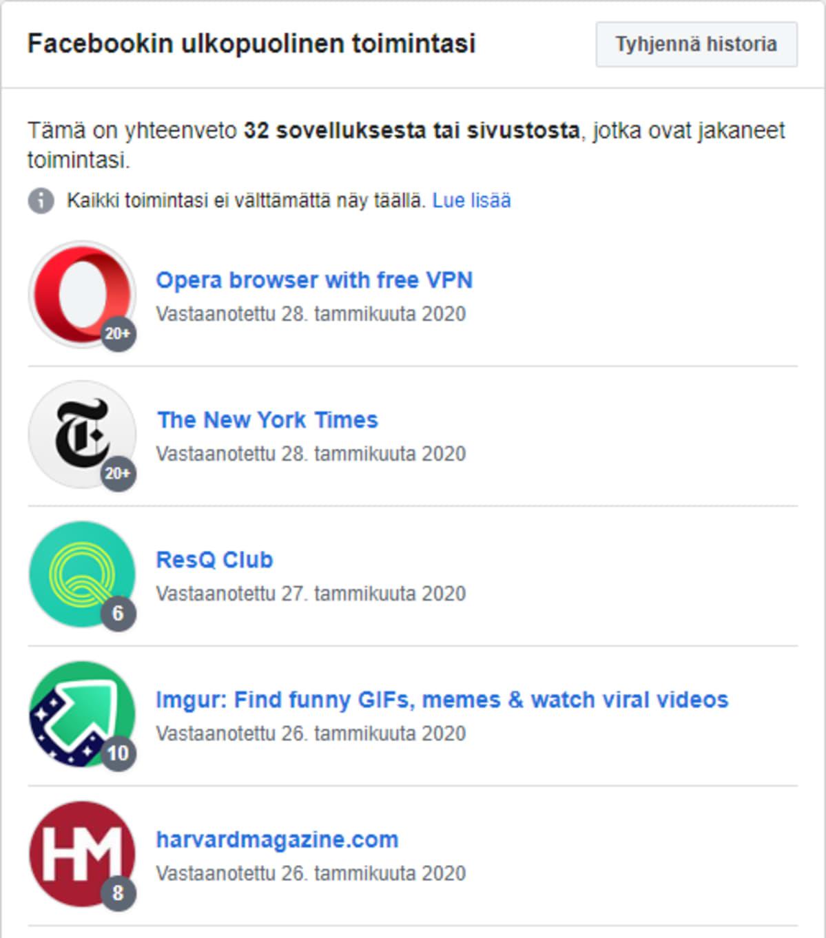 Näkymä Facebookista, joka näyttää tiedon siitä mihin Facebookin ulkopuoliseen toimintaan tietojasi käytetään. Kyseisellä käyttäjällä listassa on mm. Opera browser with free VPN, The New York Times, ResQ Club, Imgur ja harvardmagazine.com.