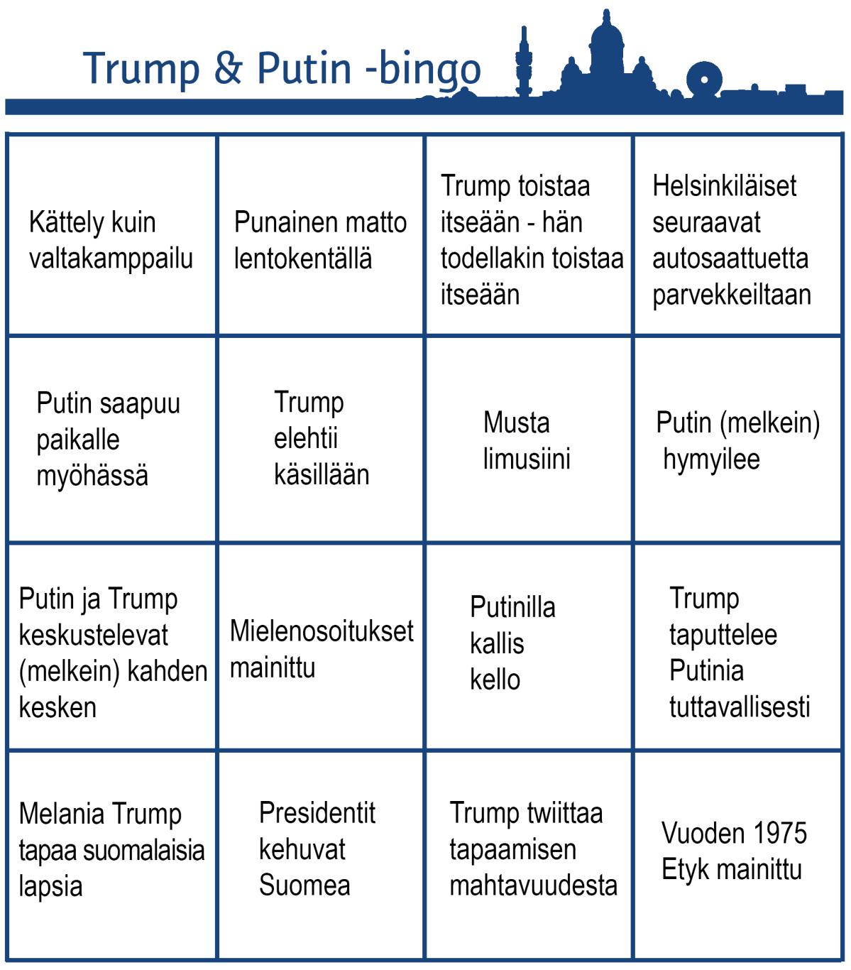 Bingolomake Donald Trumpin ja Vladimir Putinin tapaamisesta