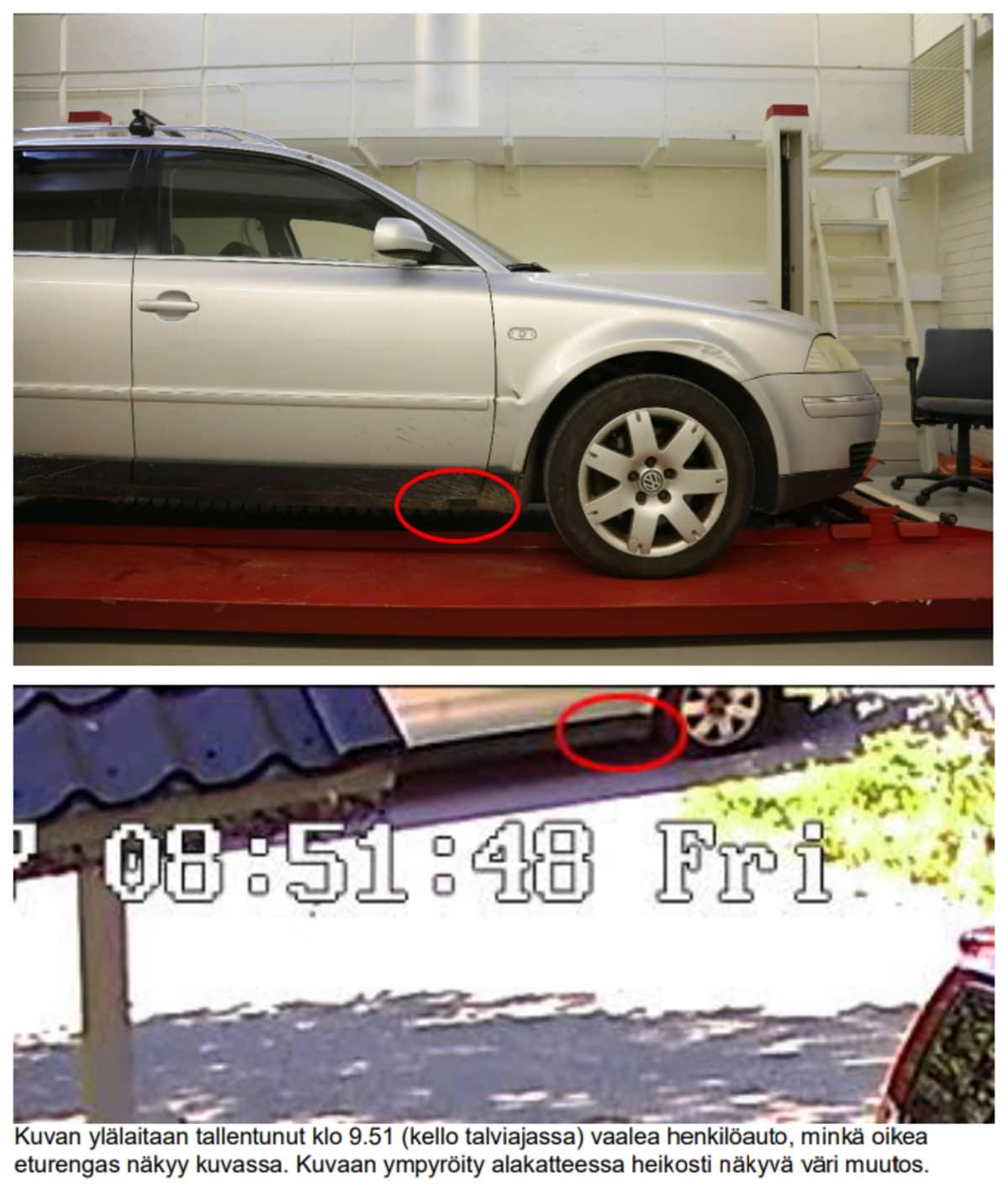 Kaksi kuvaa auton alaosasta kuvattuna laboratioriossa ja turvakamerakuvassa.