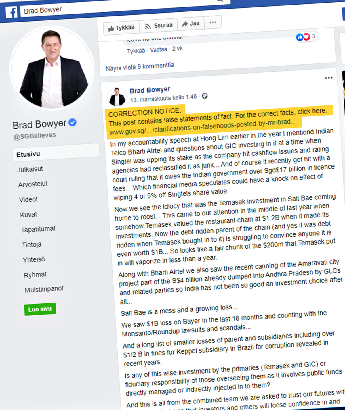 Kuvakaappaus Brad Bowyerin Facebook-sivulta. Keltaisella värillä on korostettu Singaporen hallituksen vaatima oikaisu, jonka mukaan teksti sisältää virheellistä tietoa.