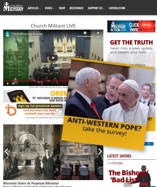 Kuvakaappaus Church Militant -sivustosta.