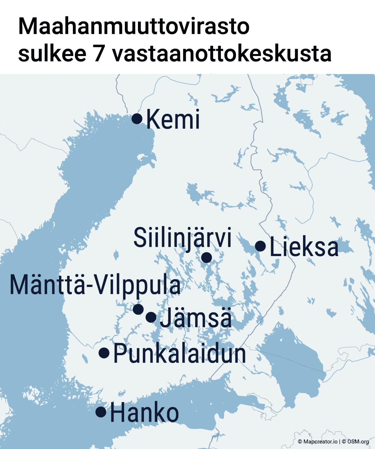Maahanmuuttovirasto sulkee 7 vastaanottokeskusta: Kemin, Siilinjärven, Lieksan, Mänttä-Vilppulan, Jämsän, Punkalaitumen ja Hangon vastaanottokeskukset.