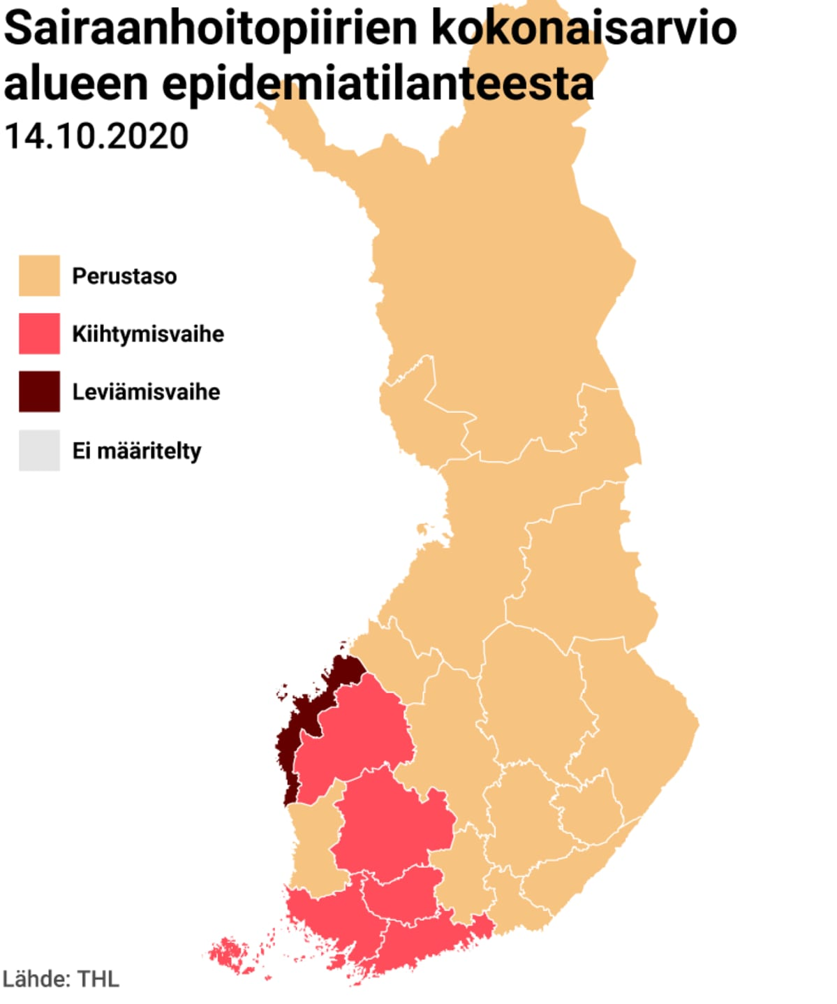 Sairaanhoitopiirien kokonaisarvio koronatilanteesta kartta