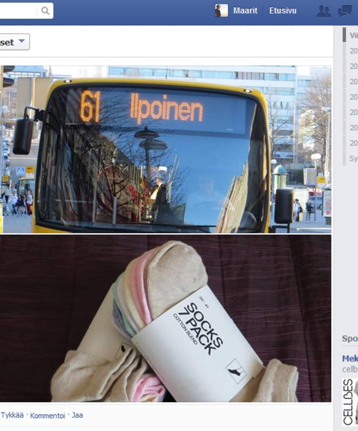 Arkihaaste kuvakaappaus Facebook sivustolta, linja-auto ja sukat