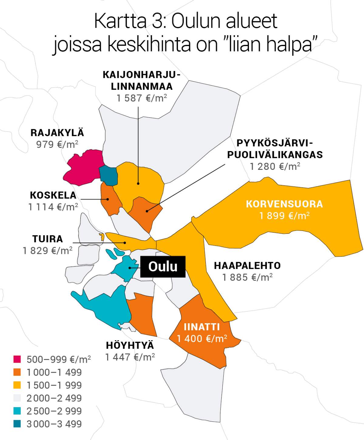 """Kartta 3: Oulun alueet joissa keskihinta on """"liian halpa""""."""