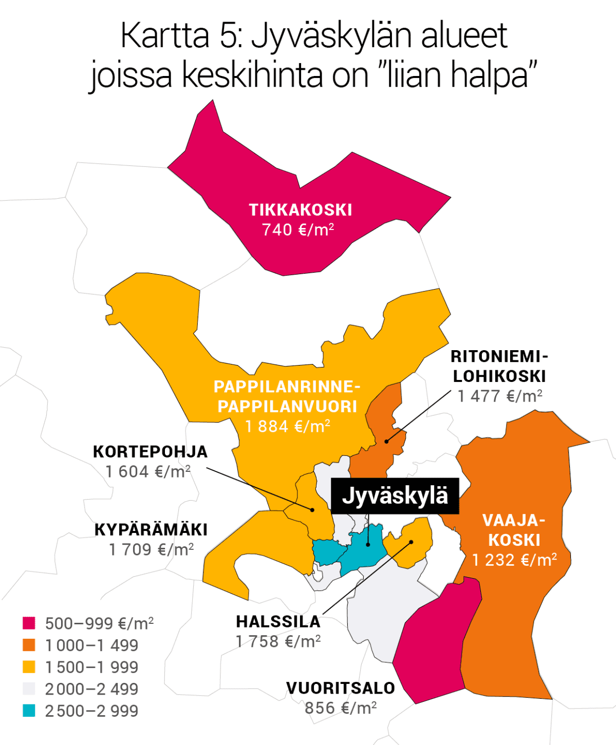 """Kartta 5: Jyväskylän alueet joissa keskihinta on """"liian halpa""""."""